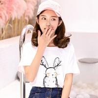 VIPEBUY 纯棉印花T恤上衣女2018新款女装学生短袖t恤女士夏季上衣