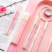 文曦新款粉色樱花中性笔0.38/0.5mm小清新可爱学生女考试用笔黑色