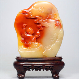 寿山芙蓉石摆件 罗汉引福
