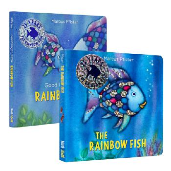 彩虹鱼系列纸板书2册 英文原版 The Rainbow Fish 晚安小彩虹鱼 1993年凯特格林纳威奖 儿童情绪管理绘本 亲子故事睡前绘本 图画书