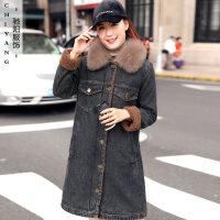 加厚牛仔女冬装新款狐狸毛加绒棉衣中长款大码风衣羊羔绒外套