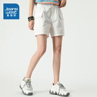 真维斯女装 夏季新款 时尚全棉骑兵斜纹布工装袋短裤