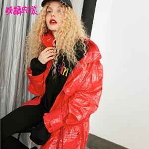 【低至1折起】妖精的口袋嘻哈少女上衣秋季2018新款宽松短款重工红色短外套女