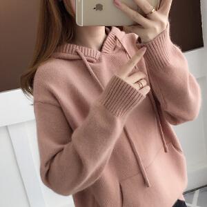 安妮纯2019秋冬新款韩版学生套头短款长袖内搭口袋连帽针织衫卫衣毛衣女
