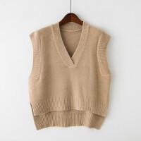 2018春季短款坎肩女士毛线马甲V领无袖背心套头休闲针织毛衣韩版 均码