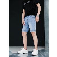 须边裤脚韩国牛仔裤 五分中裤 夏季男装短裤 直筒潮牌裤子