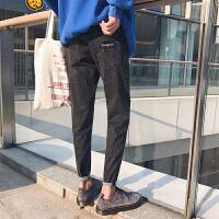 2017冬季韩版复古男士牛仔裤修身小脚锥形裤青少年长裤子新款潮裤