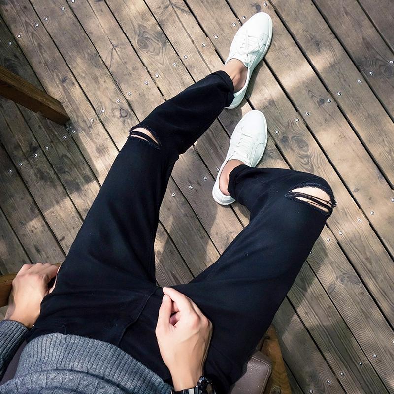 2018夏季新款字破洞牛仔裤男大码漏洞长裤哈伦裤青少年潮男裤子 发货周期:一般在付款后2-90天左右发货,具体发货时间请以与客服协商的时间为准