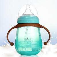 婴儿玻璃奶瓶新生儿宝宝宽口径吸管奶瓶