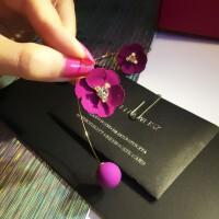 韩国复古饰品欧美时尚韩版潮流玫红花朵耳钉靓丽气质甜美球耳环女