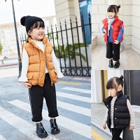 儿童马甲冬季新款加绒加厚羽绒棉宽松百搭纯色时尚潮童背心