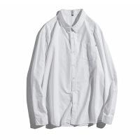 大码衬衫男加肥加大胖子牛津纺男装肥佬商务休闲色长袖衬衣棉