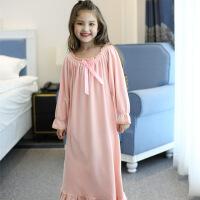 女童睡裙秋冬季珊瑚绒女 中大童 儿童长袖长款韩版宝宝暖气房睡衣 粉色