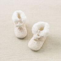 加绒戴维贝拉秋冬宝宝软底步前鞋 婴幼儿靴子DB8462