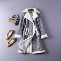 2018【/2.6斤】K#03冬季暗扣羊羔毛格子中�L麂皮�q外套