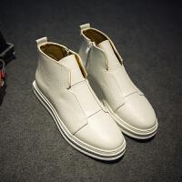 CUM 春季高帮板鞋男增高白色休闲鞋拉链鞋子男潮鞋高帮皮鞋男