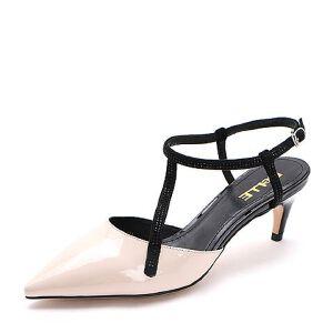 Belle/百丽2017夏新品优雅时尚尖头细高跟女皮凉鞋30901BH7