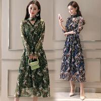 碎花连衣裙2018夏季新款女韩版时尚气质修身雪纺短袖中长款裙子女