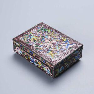 民国铜烧蓝连年有余图文房盒