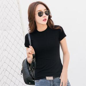 夏季新款韩版短袖t恤女上衣夏季百搭纯色修身打底衫半袖体恤