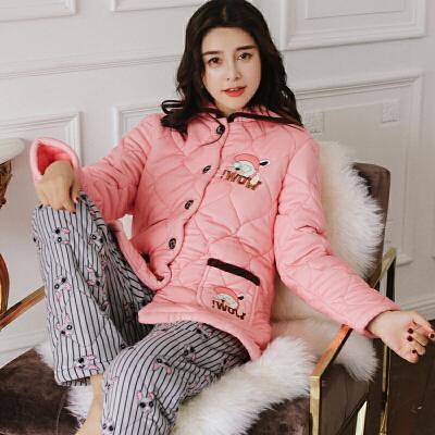 珊瑚绒睡衣女冬季三层加厚夹棉甜美可爱公主风家居服法兰绒套装 发货周期:一般在付款后2-90天左右发货,具体发货时间请以与客服协商的时间为准
