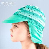 范德安儿童泳帽 2018女童舒适布帽 护耳护颈泳帽 海边防晒游泳帽