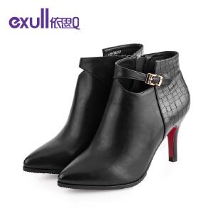依思q新款尖头细跟高跟短靴时尚皮带扣潮流女靴