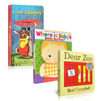 英文原版 Dear Zoo I am a Bunny Where is Baby's Belly Button 3册纸