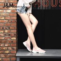 jm快乐玛丽2018夏季时尚平底运动鞋一脚蹬舒适透气休闲女鞋76098W