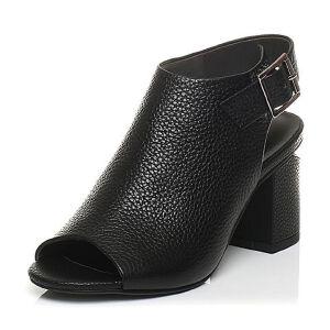 Belle/百丽2017夏专柜同款牛皮粗跟女凉鞋BPF33BL7
