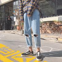 2018春季新款微弹破洞宽松水洗牛仔九分韩版学院风嘻哈牛仔男裤子