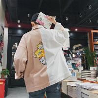 2018春装猫印花夹克男新款拼接撞色休闲外套韩版青少年潮流茄克衫