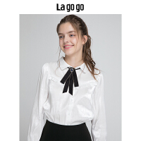 Lagogo拉谷谷2019冬新款宫廷风珠光白色长袖衬衫上衣女HCCC439A15