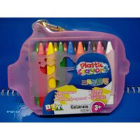 colorato卡乐淘三角形蜡笔16色套装粉色猪型盒