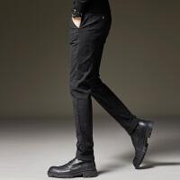 Lee Cooper男式保暖商务西裤格子休闲小脚长裤加绒男裤