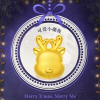 周大福 转运珠圣诞Q萌小鹿足金定价黄金吊坠R19161>>定价