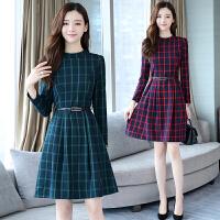 气质连衣裙子女长袖款春初秋季装新韩版显瘦格子群主修身时尚