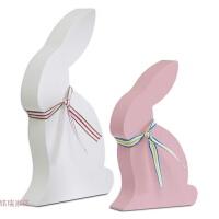 卡通兔子木摆件套装田园北欧风格儿童卧室动物创意装饰品家居摆设 一粉一白