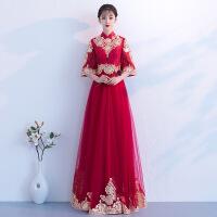 孕妇敬酒服2018新款秋冬季红色中国风旗袍新娘遮肚结婚晚礼服回门