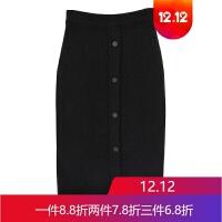 针织半身裙秋冬女中长款高腰修身半身长裙包臀裙 均码