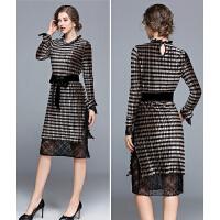 秋冬新款欧美时尚翻领木耳边丝绒长袖拼接蕾丝中长款女连衣裙