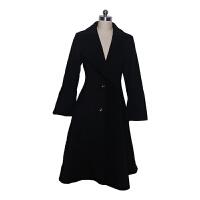 韩版风衣秋冬精品女装订制单排扣西装领收腰褶皱边 黑色