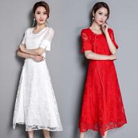 高档名媛奢华气质夏装中国风礼服连衣裙复古改良旗袍蕾丝长裙