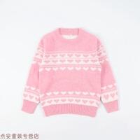 冬季女大童毛衣儿童羊绒衫圣诞双层加厚保暖打底衫女宝宝针织羊毛衫秋冬新款