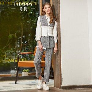 海贝2018春装新款女纯棉格子条纹西装马甲外套休闲裤长裤时尚套装