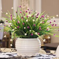 仿真花束插花客厅卧室餐桌茶几摆假花艺装饰绢花套装摆设盆栽摆件 乳白色 荷花瓶玫瑰草红白