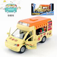 仿真雪糕车冰淇淋车快餐车儿童玩具车模合金车回力车玩具小汽车M