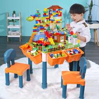 糖米 儿童多功能大颗粒积木桌兼容乐高学习桌3-6岁益智拼装玩具游戏桌