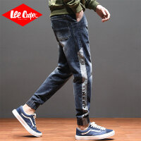 Lee Cooper新款系绳个性牛仔裤男宽松束脚哈伦潮流牛仔裤男