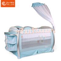 【当当自营】Bair贝尔BR06可折叠带蚊帐婴儿床儿童带滚轮非实木床 欧式可摇摇篮游戏床 121*74天蓝色
